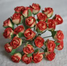 8mm RED YELLOW SEMI-OPEN ROSE BUDS Mulberry Paper Flowers